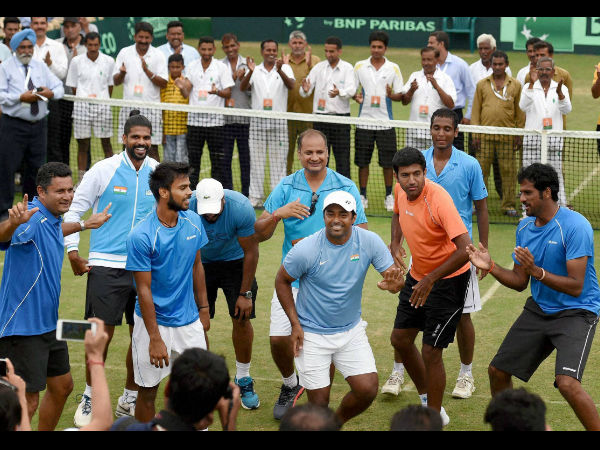 Indian tennis player Leander Paes celebrates after won the match against Korea during the Asia/ Oceania Group I , 2nd Round of Davis Cup (Doubles) Match in Chandigarh.
