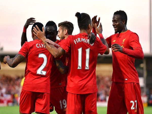 Liverpool player celebrate after scoring against Burton Albion (Image courtesy: Liverpool FC Twitter handle)