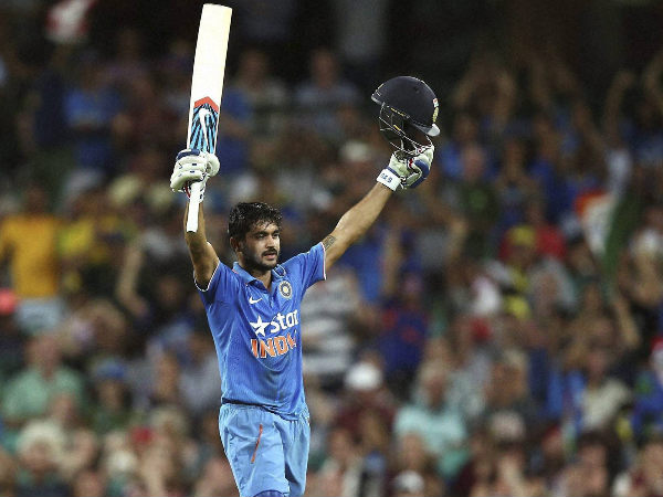 File photo: Manish Pandey celebrates after scoring a century against Australia in January, 2016