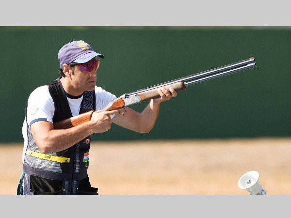 India's shooter Mairaj Ahmad Khan competes during the Skeet Men's qualifying round at Rio Olympics