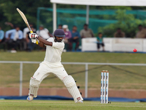 Abhinav Mukund plays a shot during India Red-India Green Duleep Trophy pink-ball match