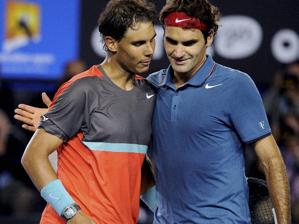 Rafael Nadal (left) is congratulated by Roger Federer