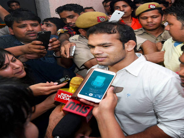 Narsingh Yadav coming out of the NADA office after a hearing on his dope scandal, in New Delhi