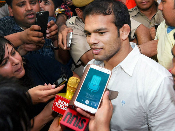 File photo: Narsingh Yadav speaking to reporters recently