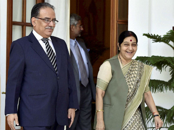 prachanda with sushma swaraj