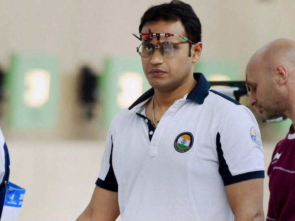 Prakash Nanjappa  competes in the Men's 10m Air Pistol Team qualification shooting event at the 17th Asian Games