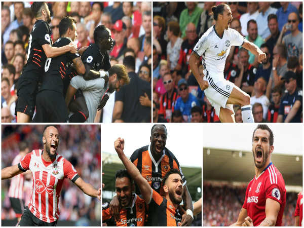 A collage of the best moments from EPL gameweek 1 (Image courtesy: Premier League Twitter handle)