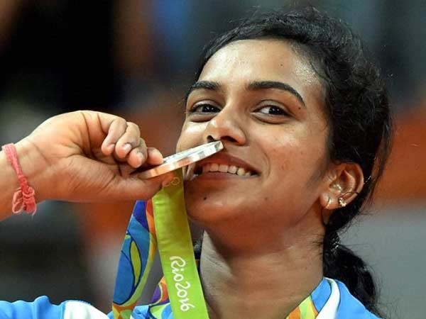 PV Sindhu with her silver medal at Rio Olympics