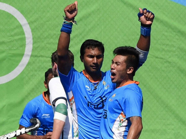 File photo: India's Raghunath raises his hands to celebrate a goal during Rio Olympics