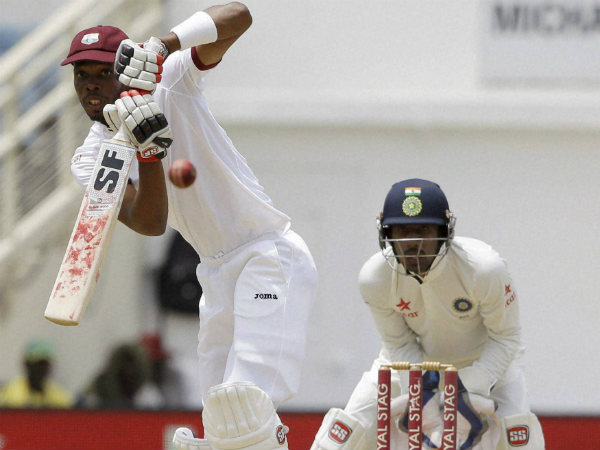 Roston Chase plays a shot en route to his maiden Test ton
