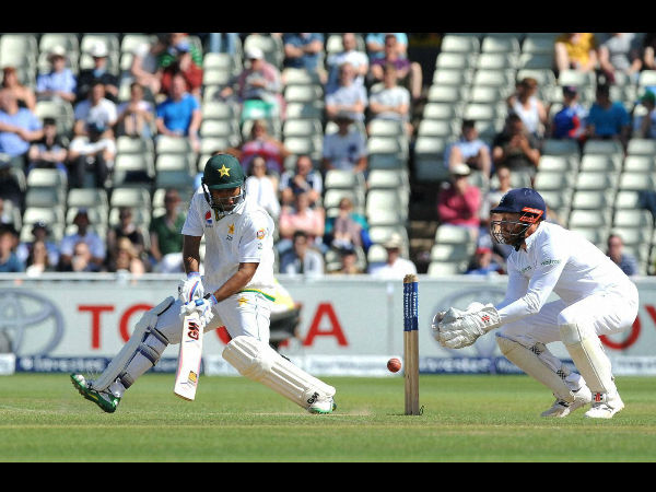 Pakistan's Sami Aslam, centre, plays a shot against England, during day five of the 3rd Test match at Edgbaston in Birmingham, England on Aug. 7, 2016.