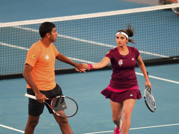 Sania Mirza and Rohan Bopanna during their mix doubles match against Manila Mavericks players Flipkens and Nester at the International Premier Tennis League