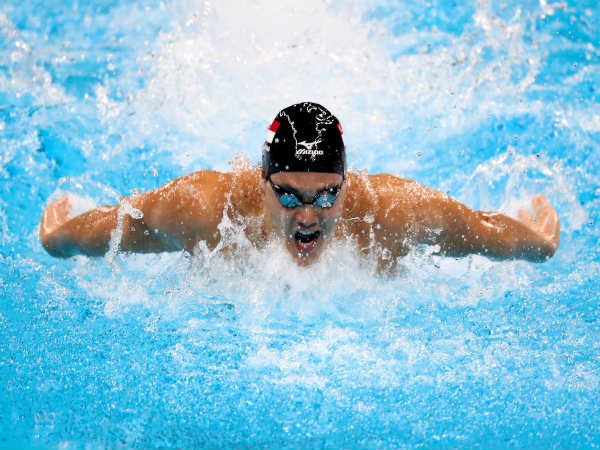 Singapore's Joseph Schooling in action in the Men's 100m butterfly category (Image courtesy: Olympics Twitter handle)