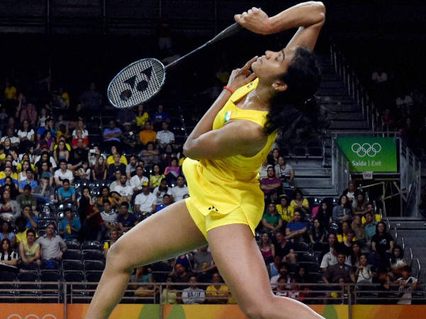 PV Sindhu in action against China's Wang Yihan in the quarter-final