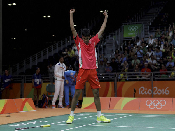 Srikanth Kidambi celebrates alter beating Sweden's Henri Hurskainen during a Men single match at the Rio Olympics 2016