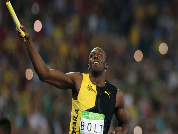 Usain Bolt celebrates after winning 4x100m relay for Jamaica (Image courtesy: Usain Bolt Twitter handle)