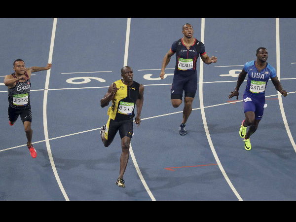 Jamaica's Usain Bolt, second left, wins the men's 100-meter final during the athletics competitions of the 2016 Summer Olympics at the Olympic stadium in Rio de Janeiro.