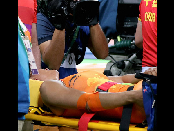 Indian wrestler Vinesh Phogat injured during the Women's freestyle 48 kg at 2016 Summer Olympics at Rio de Janeiro in Brazil on Wednesday