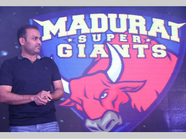 Virender Sehwag at Madurai Super Giants' event