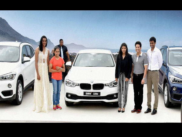 Sachin presents Olympians BMW cars