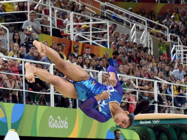 India's Dipa Karmakar performs on the vault during the artistic gymnastics women's apparatus final at the 2016 Summer Olympics in Rio de Janeiro, Brazil, Sunday, Aug. 14, 2016.
