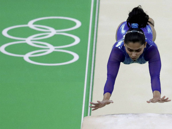 Dipa Karmakar competes at Rio Olympics where she finished a historic fourth