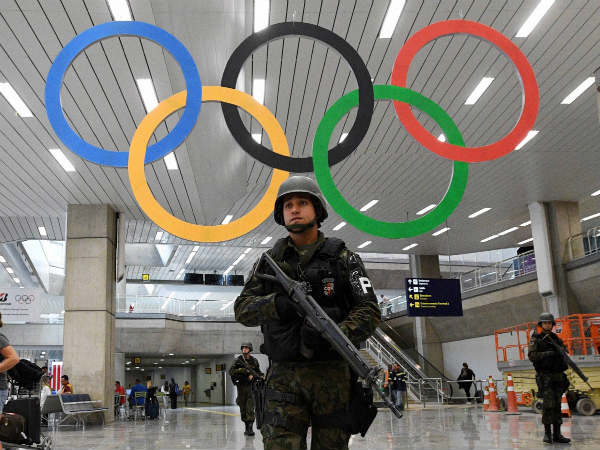 Soldiers patrol the airport in Rio de Janeiro