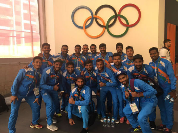 India's men hockey players pose for pictures in Rio de Janeiro
