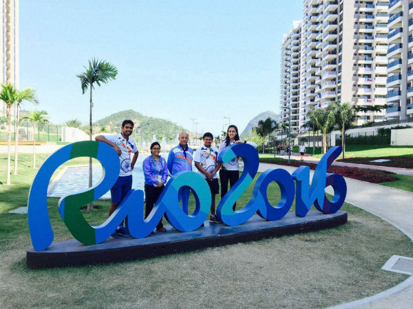 The Indian table tennis team at the Olympic Games Village in Rio de Janeiro