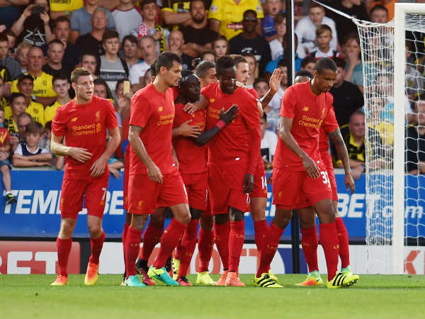 Liverpool players celebrate after scoring a goal (Image courtesy: Liverpool Twitter handle)