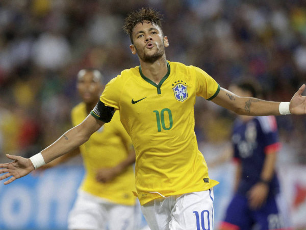 File Photo: Neymar celebrates after scoring for Brazil