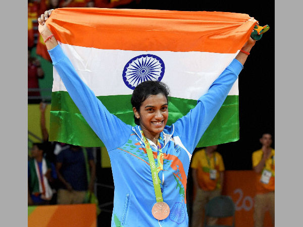 File photo: PV Sindhu celebrates her Olympics silver medal