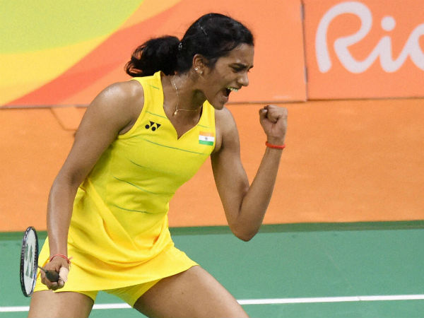 PV Sindhu, in Yonex jersey, celebrates a point at Rio Olympics