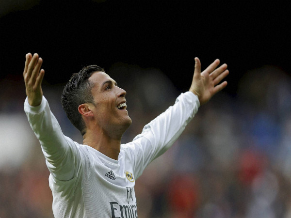 Cristiano Ronaldo celebrates after scoring a goal for Real Madrid