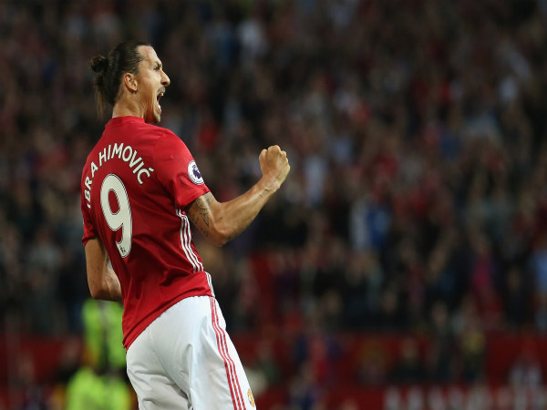 Zlatan Ibrahimovic celebrates after scoring the first goal against Southampton (Image courtesy: Manchester United Twitter handle)