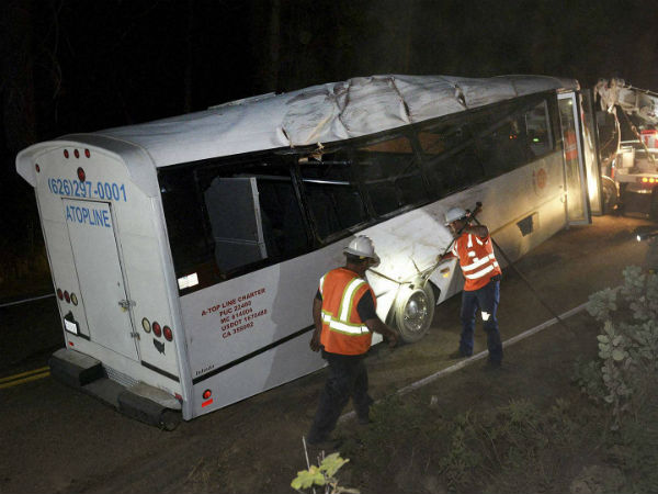 One passenger killed in tour bus accident, California