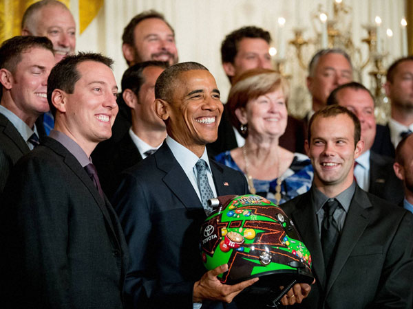 Barack Obama with NASCAR race car driver Kyle Busch