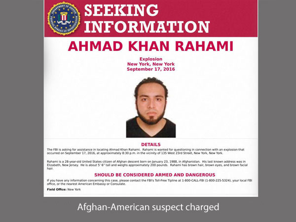 US charges suspect with NY, NJ attacks