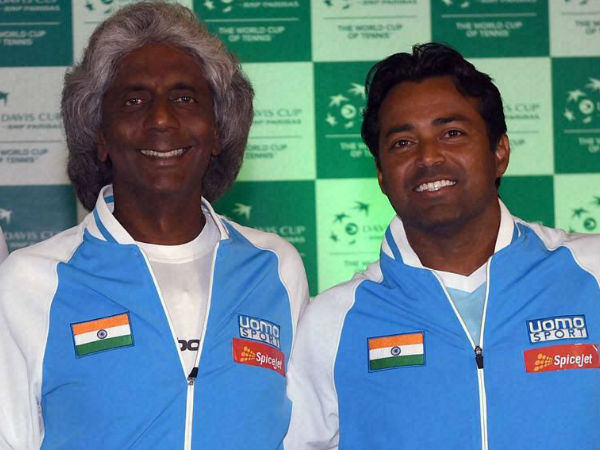 Anand Amritraj (left) with Leander Paes