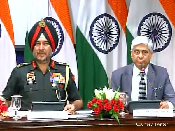 Director General Military Operations (DGMO) & JS (XP) Vikas Swarup addressing media.