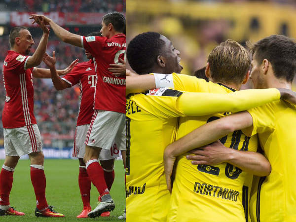 Bayern Munich players (left) and Dortmund players celebrate (Image courtesy: Bayern Munich, Dortmund Twitter handles)