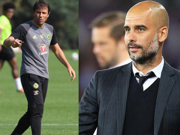 Antonio Conte (left), Pep Guardiola (Image courtesy: Chelsea and Manchester City Twitter handle)