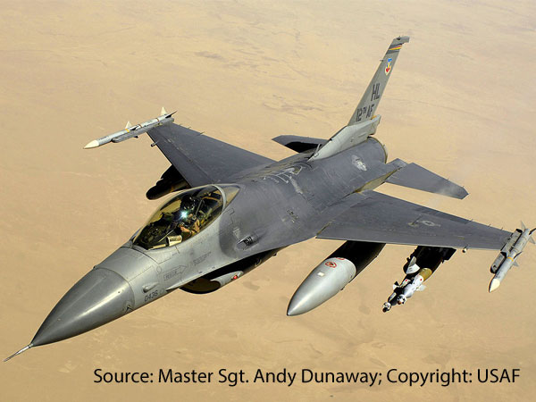 A USAF F-16C over Iraq in 2008