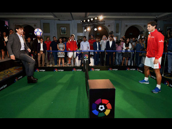 Spanish tennis player Rafel Nadal and LaLiga Ambassador Fernando Morientes playing tennis-football during a press conference to announce LaLiga's official presence in India
