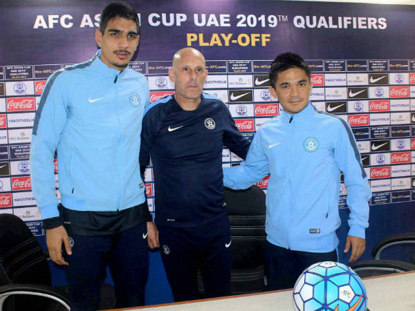 File photo: Indian players Gurpreet Singh Sandhu (left), Sunil Chhetri (right) with coach Stephen Constantine