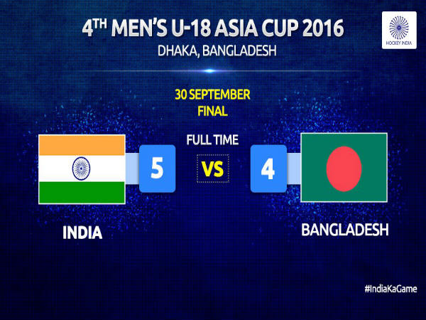India U18 beat Bangladesh to win Asia Cup (Image courtesy: Hockey India Twitter handle)