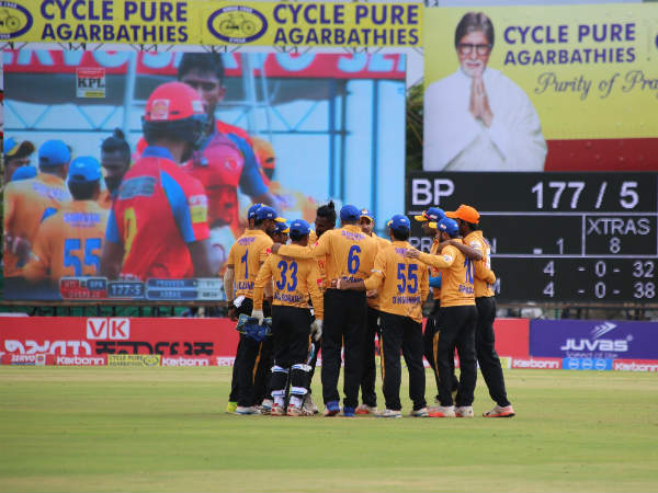 Hubli Tigers' players celebrate a wicket against Belagavi Panthers