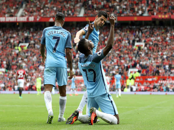 Kelechi Iheanacho celebrates his goal (Image courtesy: Manchester City Twitter handle)