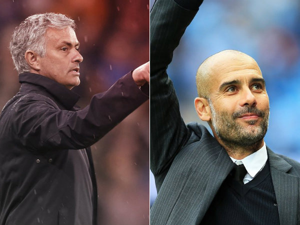 Jose Mourinho (left) and Pep Guardiola (Image courtesy: Manchester United and Manchester City Twitter handle)
