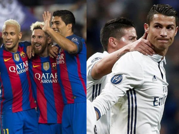 Barcelona players (left) and Real Madrid players (Image courtesy: Barcelona and Real Madrid Twitter handle)